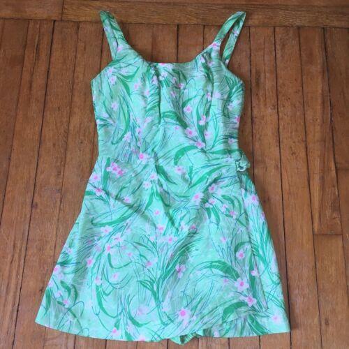 Gabar New York Vtg Swimsuit Playsuit Green Pink Floral Zipper One Pc New Sz 10