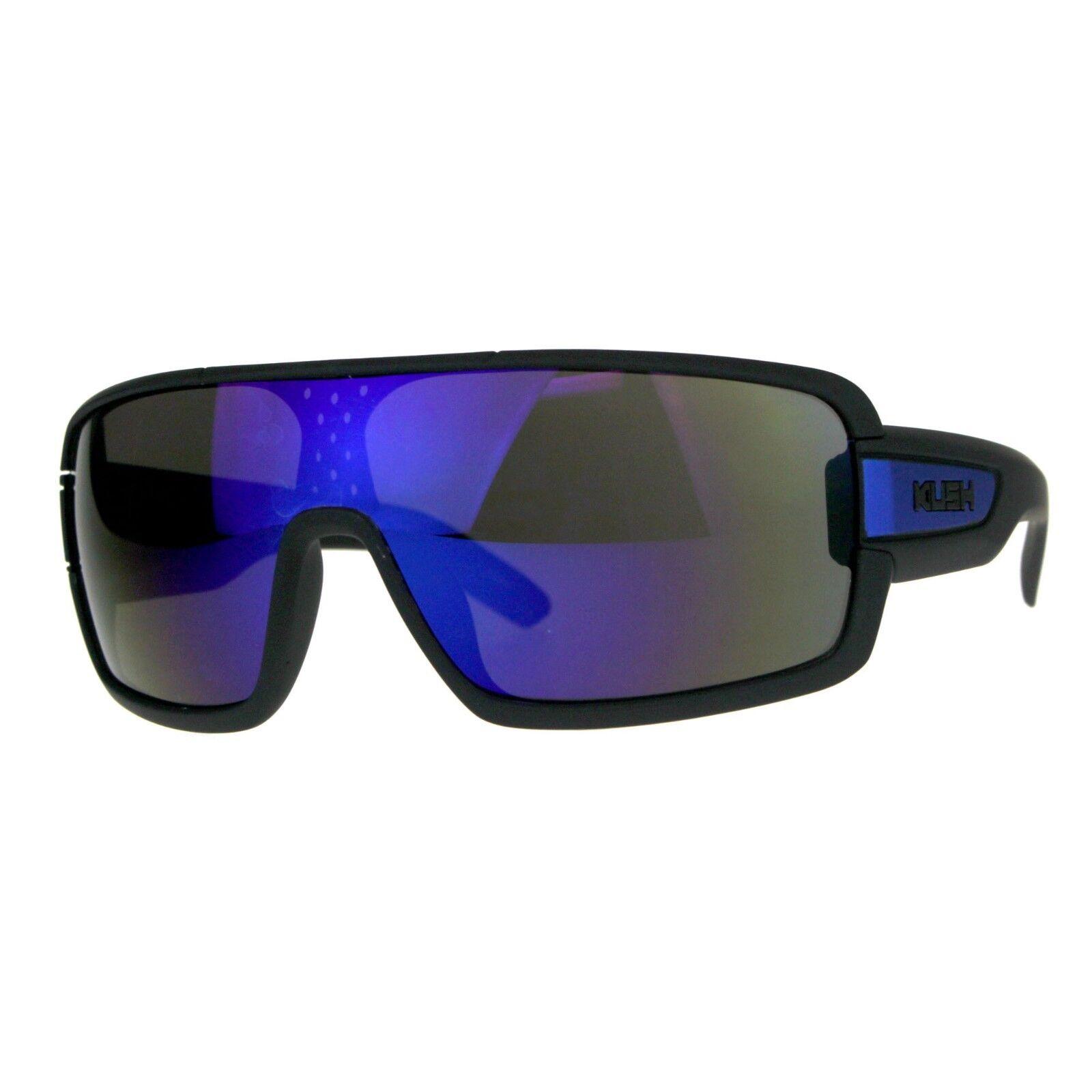 KUSH Goggle Sunglasses Mens Matted Black Shield Frame Mirror