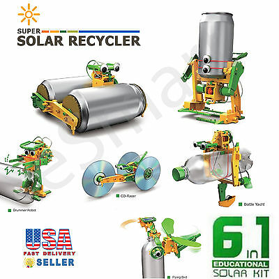 Solar Power Kit 6 in 1 DIY Educational Science Building Electricity Robots Toy