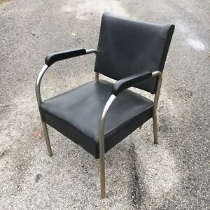 Art Deco vintage black vinyl and chrome chair