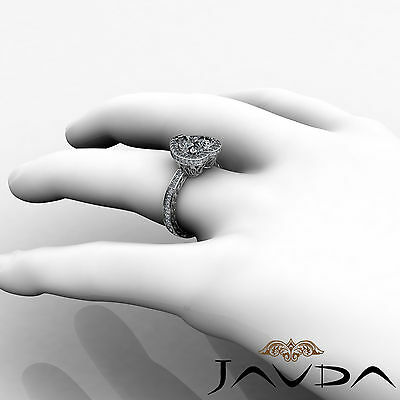 Floral Design Double Prong Halo Heart Cut Diamond Engagement Ring GIA I VS2 2Ct 4