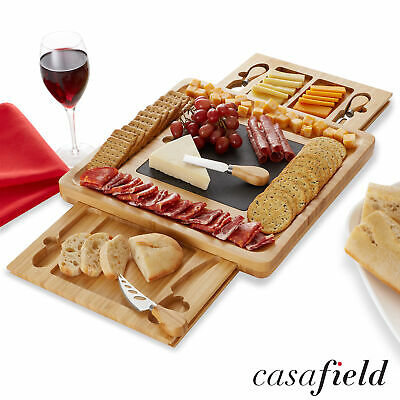 Bamboo Charcuterie Cheese Board Gift Set, Slate Center, Stainless Steel Knives