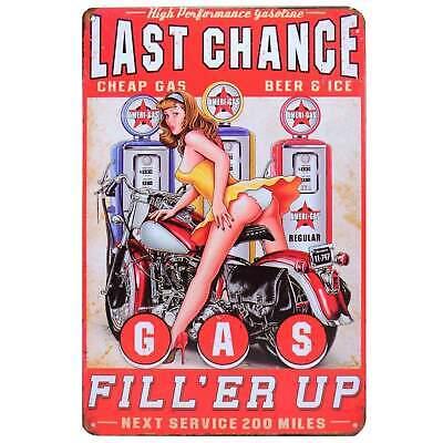 Last Chance Garage Metal Tin Sign Retro Homewares Decor Vintage Pinup Garage - Last Chance Garage