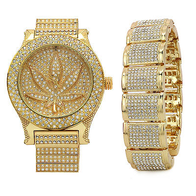 14k Gold PT Iced Hip Hop Fashion Fully Cz Marijuana Watch & Bracelet Dome Wrist