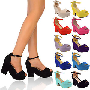 Ladies-Womens-High-Mid-Heel-Platform-Flatform-Ankle-Strap-Wedge-Shoe-Sandal-Size