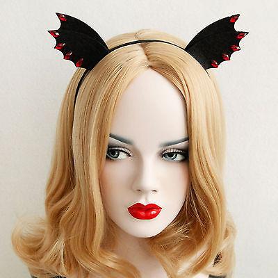 Women Girl Black Devil bat Ear Halloween Costume Party Hair Headband Band PROP ](Halloween Bat Ears)