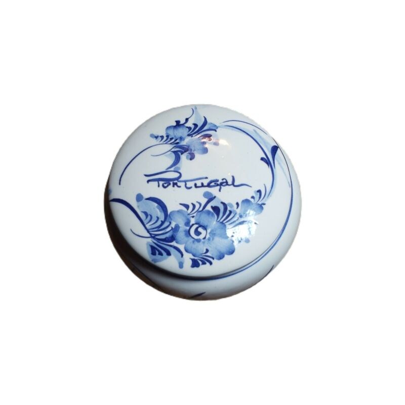 Trinket Box Circle Dish Ceramic Portugal Blue and White Flowered Pottery