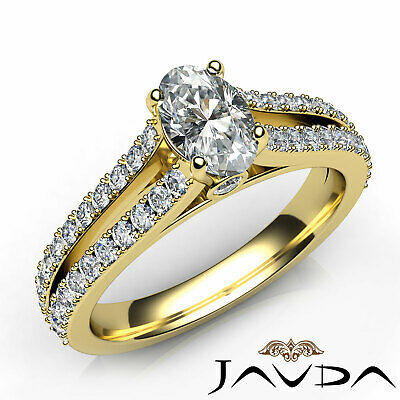 Double Prong Set Split Shank Oval Diamond Engagement Ring GIA F Color SI1 1.15Ct