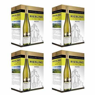 4x 2019 Riesling Feinherb Qualitätswein Weiß Bag-in-Box BiB 3L Mosel Deutschland