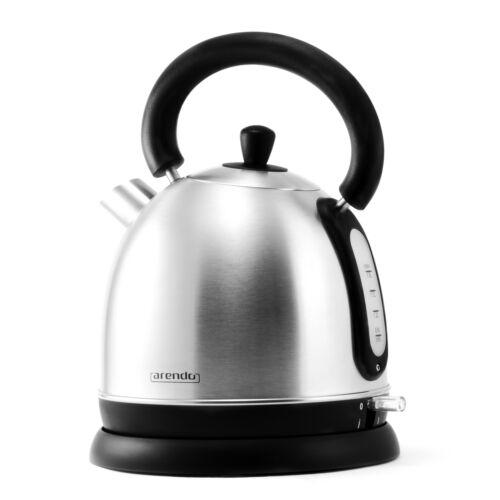 Arendo Wasserkocher 1,8L 3000W aus Edelstahl Teekocher kabellos Retro