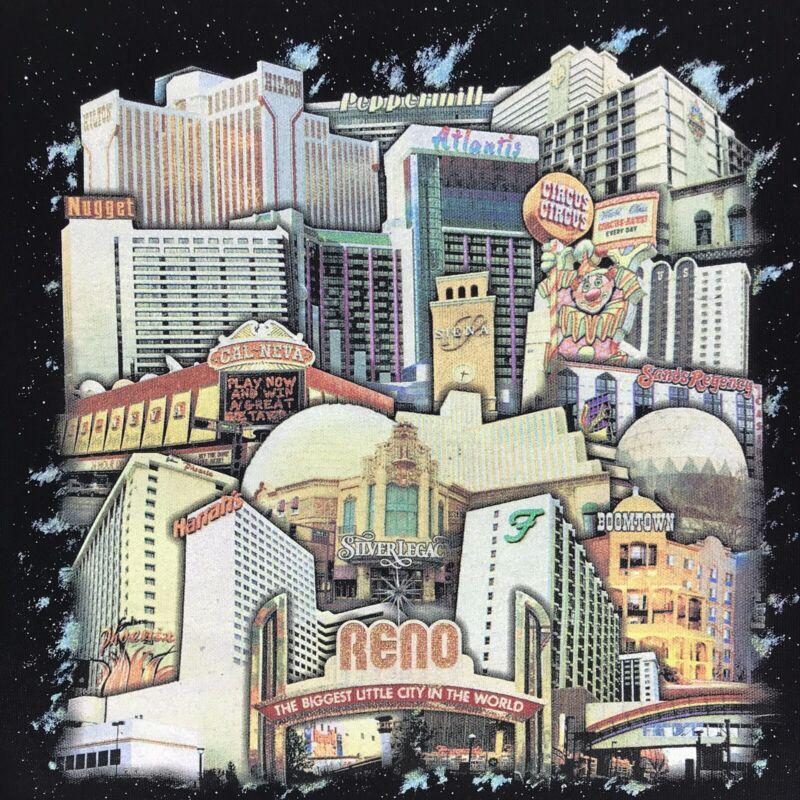 Reno Nevada Souvenir City Buildings Canvas Shopping Tote Beach Gambling Bag