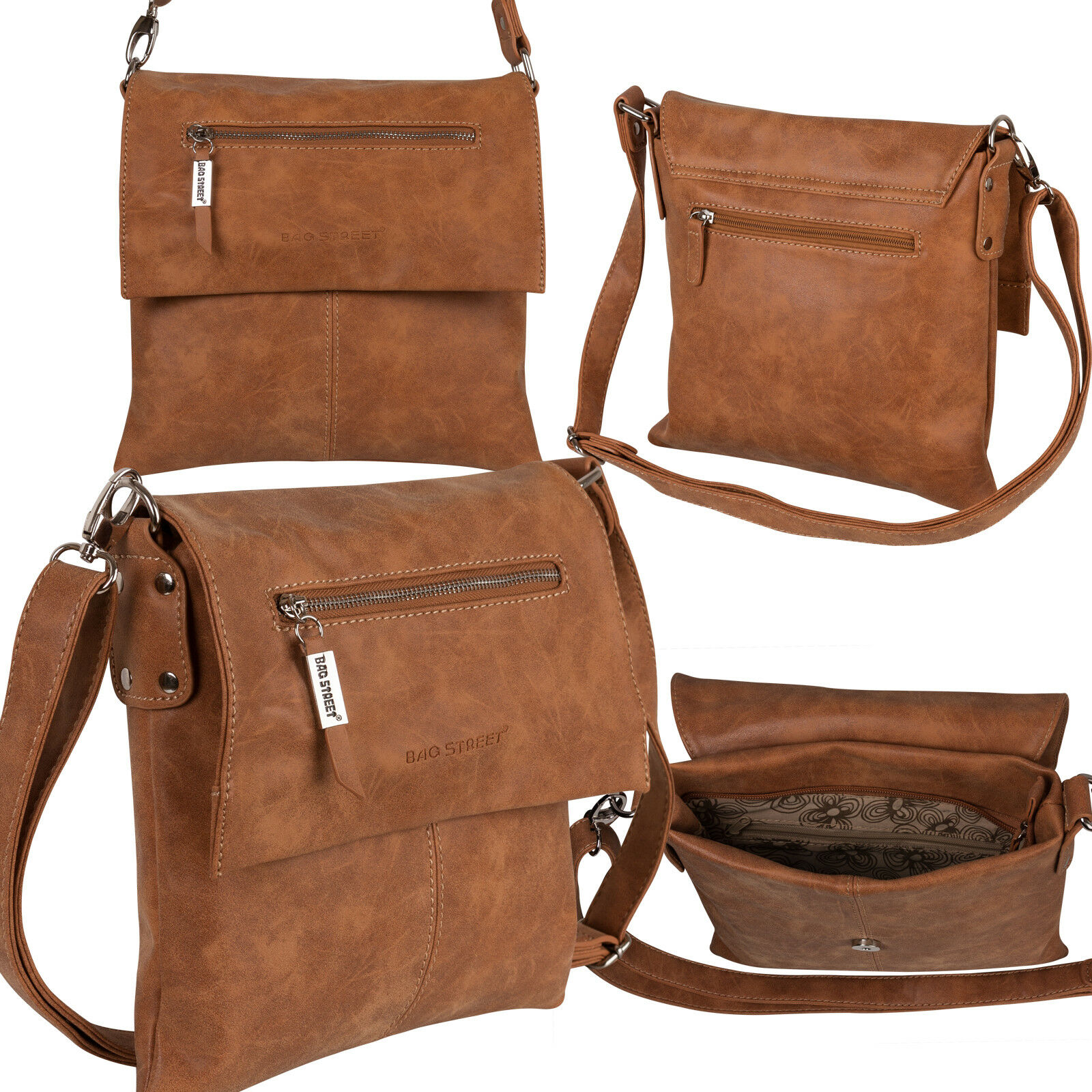 Bag Street Damentasche Umhängetasche Handtasche Schultertasche K2 T0102 Cognac