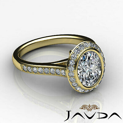 Cathedral Halo Pave Bezel Setting Oval Diamond Engagement Ring GIA H VS2 1.8 Ct 11