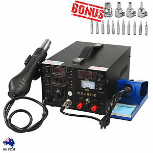 3in1 Soldering Iron Station Hot Air Gun Rework DC Power ESD Safe Bonus Tips Kit