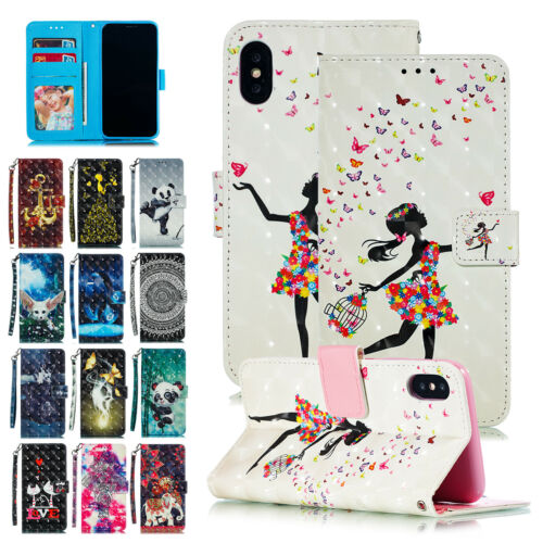 Colored 3D Pattern Magnetic Strap Wallet Stand Flip Case For