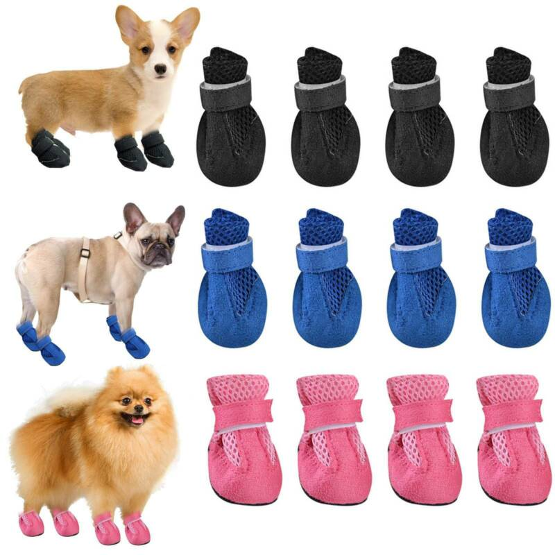 4pcs Anti Slip Pet Boots Dog Waterproof