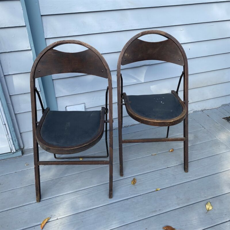 Stakmore Folding Chairs Set of 2 Art Deco Metal Frame Wood seat back 1929 Date