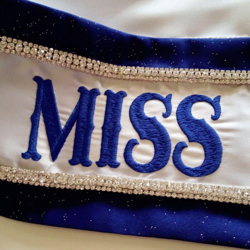 Luxury Rhinestone Pageant Sash Custom Embroidered