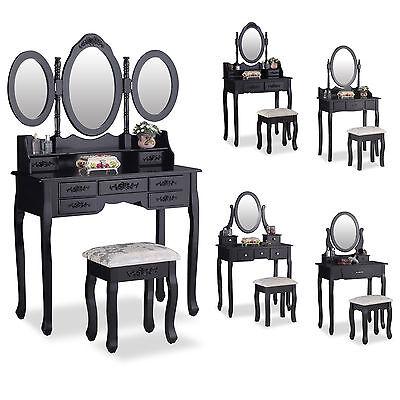 Black Dressing Table Makeup Vanity Set Makeup Desk with Stool Mirror Bedroom](Mirror Table)