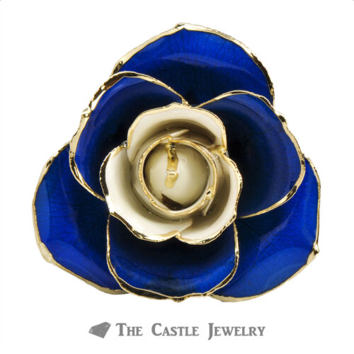 Genuine UK Blue and White Rose Preserved Lacquer Dipped 24K Gold in Gift Box