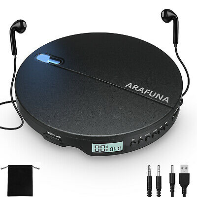 Portable CD Player for Car with Headphones & 3.5mm AUX Cable Anti-Skip Walkman