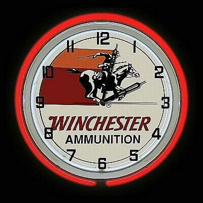 """19"""" Winchester Ammunition Sign Double Neon Clock Red Neon Chrome"""