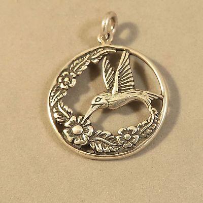 Sterling 925 Charm Pendant - .925 Sterling Silver HUMMINGBIRD & FlLOWERS CHARM Pendant NEW Bird 925 BI62