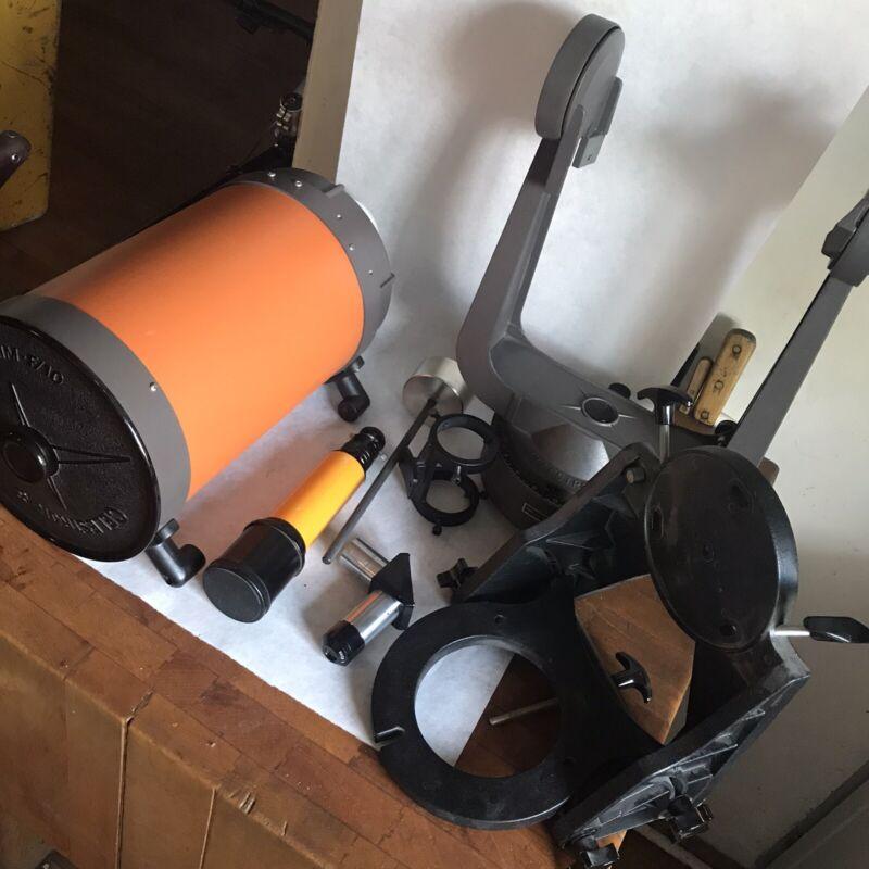 Vintage Celestron C8 Telescope Orange Tube With Accessories Extra Lenses