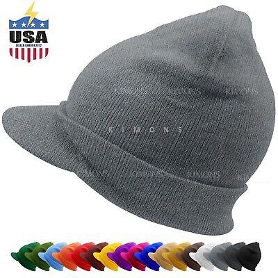 Bill Visor Cuff Beanie Knit Jeep Cap Hat Ski Thick Warm Winter -