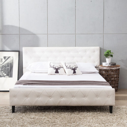 Full Size Metal Bed Frame PU Leather Button Tufted Upholster