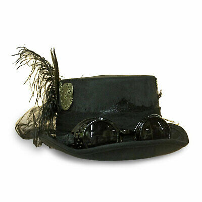Adult Womens Steampunk Pilot Goggles Feathers Black Mesh Cosplay Costume Top Hat](Pilot Costume Hat)