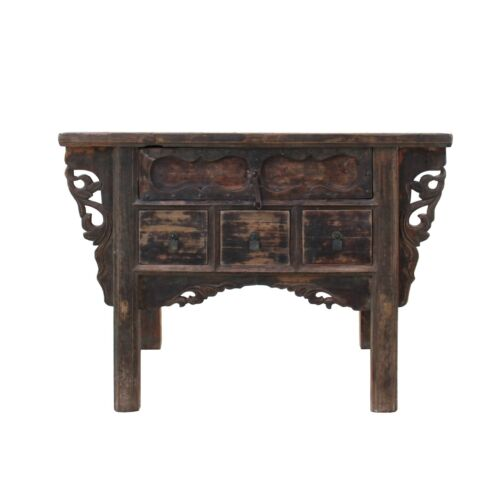 Chinese Vintage 4 Drawers Raw Rustic Brown Side Table Cabinet cs5348
