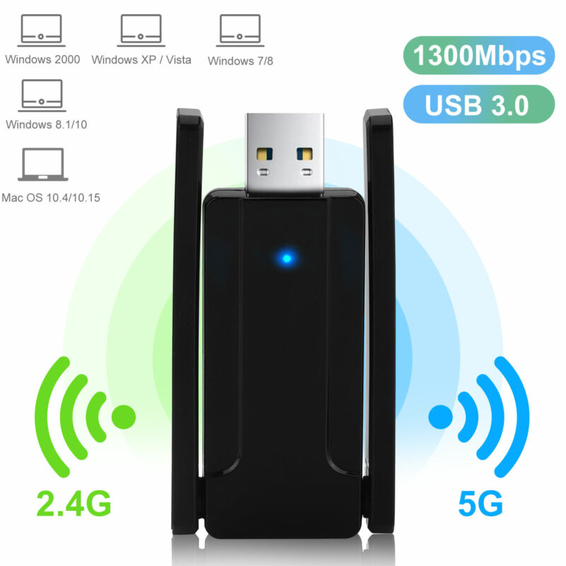 Dual Band USB 3.0 1300Mbps Wireless Wifi Adapter Connector w/ External Antennas