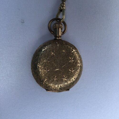 American Waltham Gold Ladies Pocket Watch With Chain-Stars-Works Circa 1893-1894