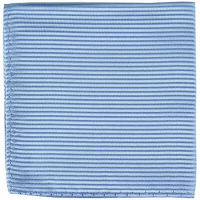 New polyester woven thin striped pocket square hankie handkerchief light blue