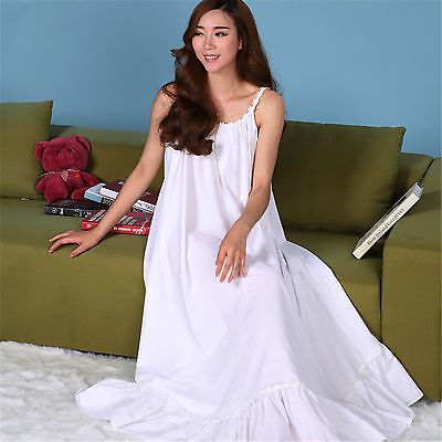 New Women Cotton White Sling Sleepwear Maxi Dress Long Nightgown Cotton Pajama