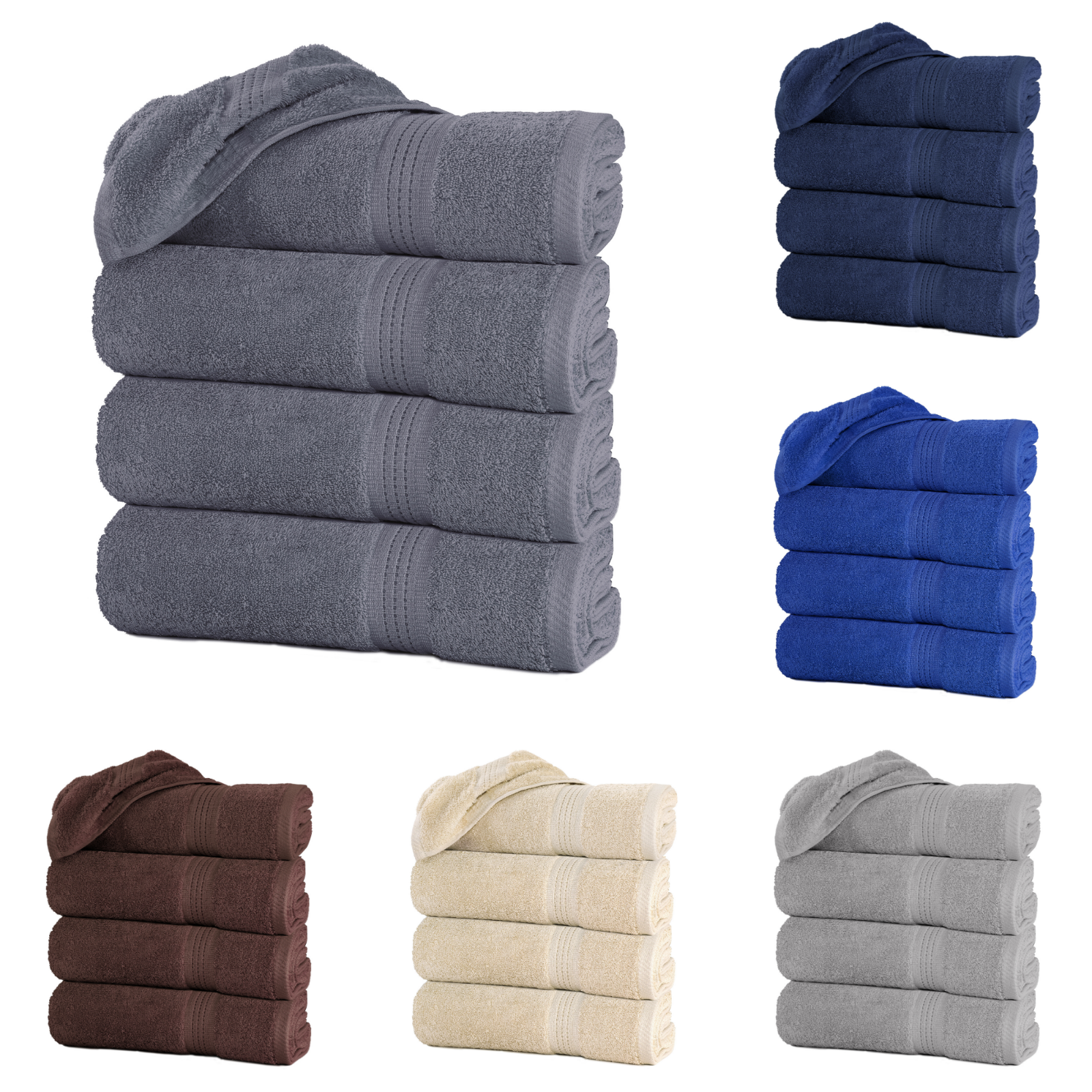 "Large Bath Towel Packs Sets Sheets 100% Cotton 27""x55"" 500 G"