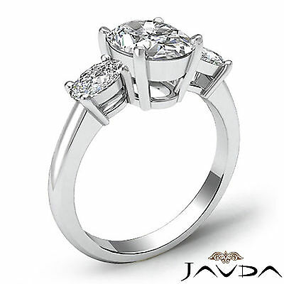 3 Stone Prong Setting Oval Cut Diamond Engagement Wedding Ring GIA H VS2 1.5 Ct 1
