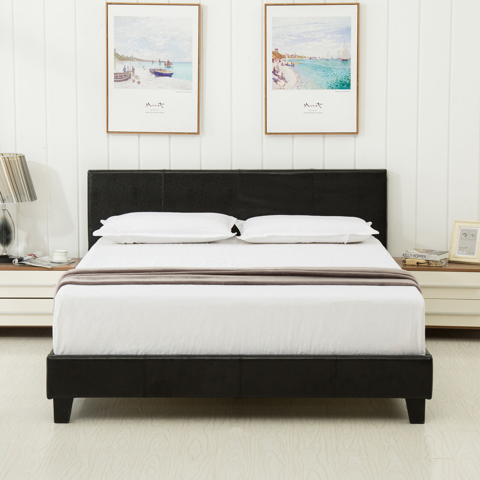 Queen Leather Platform Bed Frame Upholstered Headboard and Memory ...