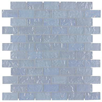 Classic Mini Brick Blue Frosted Glossy Glass Backsplash Mosaic Tile MTO0086