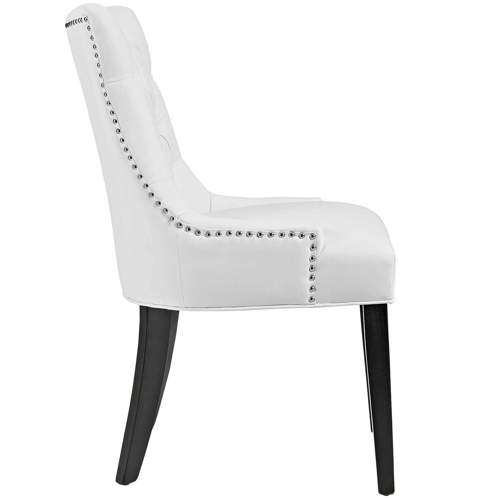 Tufted White Upholstered Faux Leather Nailhead Parsons ...