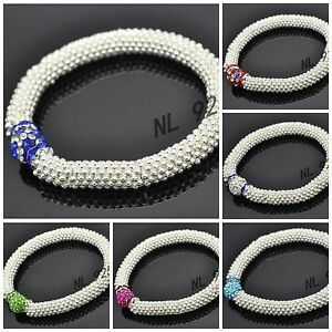 WHOLESALE-10mm-Crystal-Clay-Bead-SHAMBALLA-STYLE-Snowflake-Stretch-Bracelets