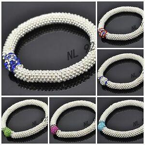 WHOLESALE-10mm-Crystal-Clay-Bead-SHAMBALLA-STYLE-Snowflake-Stretch-Bracelets