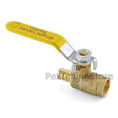 10 12 Pex Crimp X 12 Sweatsolder Brass Shut-off Ball Valves Full Port