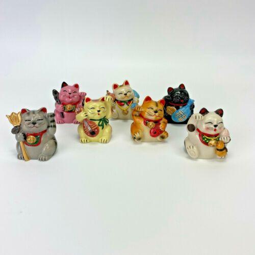 Japanese Beckoning Cat Maneki Neko 7 Lucky Cat Gods Vintage