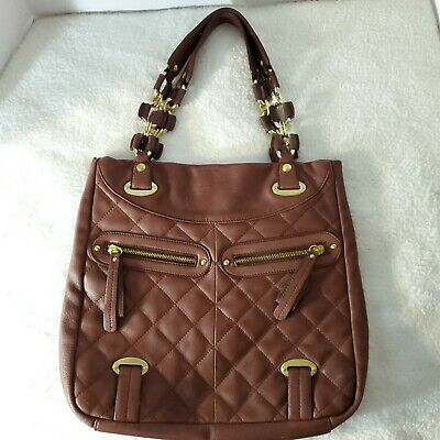 B. MAKOWSKY Quilted Shoulder Bag Brown Leather Large Chain Hobo Tote Purse