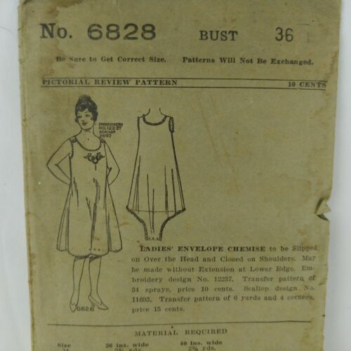 Antique Envelope Chemise Pattern 36 Bust 10 Cent Pictoral Review 6828 Sewing