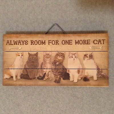 """Always Room For One More Cat"" 12"" x 6"" Wood Wall Picture Plaque NICE!! (#PD-2)"
