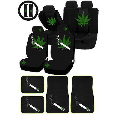 Uaa Mary Jane Weed Mota Marijuana Universal Seat Cover Carpet Mat Combo Set Car