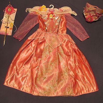 NWT Aurora Sleeping Beauty Girl Costume 4 5 6 6X Dress Tiara Wand Lot Halloween  ()